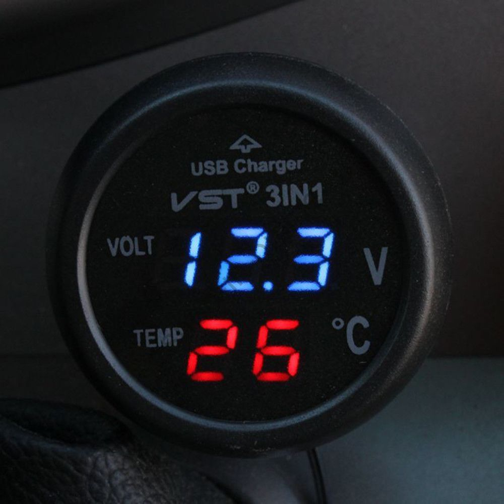 Автомобильный вольтметр + термометр